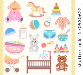 cute baby icons stickers. flat... | Shutterstock .eps vector #570930622