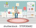 living room interior with... | Shutterstock .eps vector #570930682