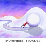 Man trying to push a giant snowball in an uphill struggle. - stock photo