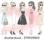 five beautiful stylish cute... | Shutterstock .eps vector #570939805