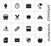 set of 16 editable school icons.... | Shutterstock . vector #570943645
