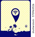 pictogram gps with wifi icon.