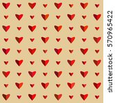 red hearts on beige background