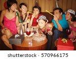 young adults celebrating with... | Shutterstock . vector #570966175