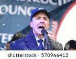 Small photo of NEW YORK CITY - JANUARY 31 2017: Thousands of union & non-union construction workers rallied by City Hall to urge passage of bill 1447 to improve safety. Central AFL-CIO Council Pres Vincent Alvarez
