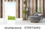 modern bright interior with... | Shutterstock . vector #570973492
