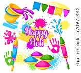 happy holi set of elements.... | Shutterstock .eps vector #570975442