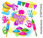 happy holi set of elements.... | Shutterstock .eps vector #570975442
