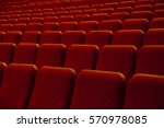 empty rows of red chairs... | Shutterstock . vector #570978085