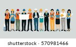 engineers and architects with a ... | Shutterstock .eps vector #570981466