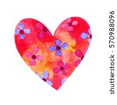 watercolor love heart... | Shutterstock . vector #570988096