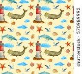 seamless sea background ... | Shutterstock . vector #570989992