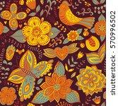 vector flower pattern. seamless ... | Shutterstock .eps vector #570996502