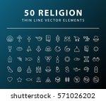 set of 50 minimal thin line... | Shutterstock .eps vector #571026202