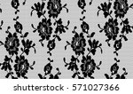 seamless black vector lace... | Shutterstock .eps vector #571027366