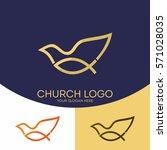 church logo. christian symbols. ... | Shutterstock .eps vector #571028035