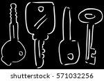 sketch of keys  at black... | Shutterstock .eps vector #571032256