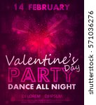 poster for valentines day party ... | Shutterstock .eps vector #571036276