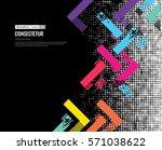 trendy geometric flat pattern ... | Shutterstock .eps vector #571038622
