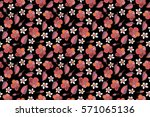 tropical floral with multicolor ... | Shutterstock . vector #571065136