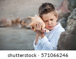 happy child listen to seashell. ... | Shutterstock . vector #571066246