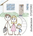 family in front of their house  ... | Shutterstock .eps vector #57107092
