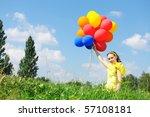 girl holding balloons against... | Shutterstock . vector #57108181