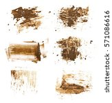 set drops of mud sprayed... | Shutterstock . vector #571086616