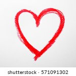 Red Drawn Heart Isolated On...