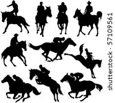 Stock vector vector silhouettes of horse racing 57109561