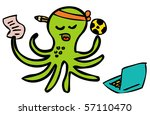 gambling octopus football - stock vector