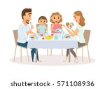 family eating meal around... | Shutterstock .eps vector #571108936