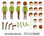 teenage boy character creation... | Shutterstock .eps vector #571115848