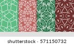 set of color floral  linear... | Shutterstock .eps vector #571150732