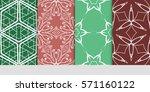 set of color floral  linear... | Shutterstock .eps vector #571160122
