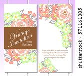 invitation with floral... | Shutterstock .eps vector #571161385