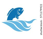 sea fish emblem icon | Shutterstock .eps vector #571179922