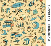 surfing seamless pattern ... | Shutterstock .eps vector #571183348