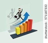 business success blue arrow... | Shutterstock .eps vector #571187332