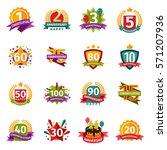 happy birthday badges vector... | Shutterstock .eps vector #571207936