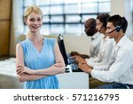 team working on computer with... | Shutterstock . vector #571216795