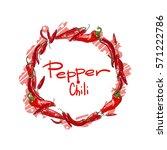 vector round set of chili... | Shutterstock .eps vector #571222786