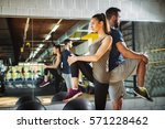 young athletes exercising and... | Shutterstock . vector #571228462