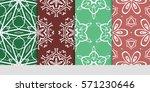 set of color floral  linear... | Shutterstock .eps vector #571230646