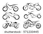 Set Of Black Vector Motorcycle...