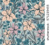 seamless pattern with tender...   Shutterstock .eps vector #571235455