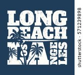 long beach tee print with... | Shutterstock .eps vector #571239898