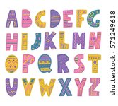 colorful hand drawn boho font... | Shutterstock .eps vector #571249618