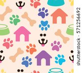 Stock vector vector seamless and colorful pet pattern with bones dog s house and bowls with animal food dog s 571256692