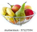 apples, pears and bananas in a metal vase on a white background - stock photo